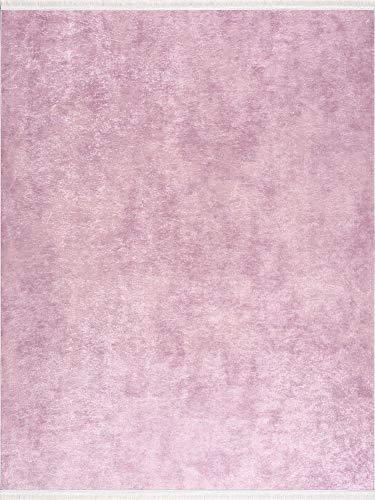 Siela Waschbarer Teppich Für Wohnzimmer, Küche, Flur, Teppichläufer, Deko, Modern, Elegant,Teppiche Für Schlafzimmer, Esszimmer Küchenteppich (1110-Pink, 80 x 150 cm)