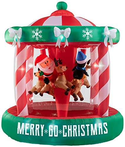 Gemmy 7Ft. Airblown Inflatable Santa Riding Reindeer on Christmas Animated Spining Carousel Outdoor Holiday Decoration