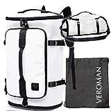 [Veroman] スポーツリュック メンズ ジムバッグ 旅行バッグ 大容量 防水 シューズ収納 30L ホワイト