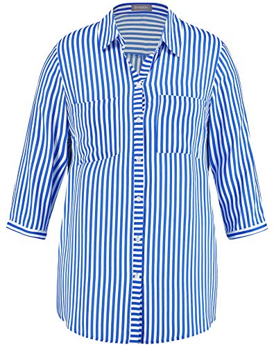 Samoon Damen 460100-29173 Bluse, Mehrfarbig (Royal Blue Gemustert 8142), (Herstellergröße: 50)