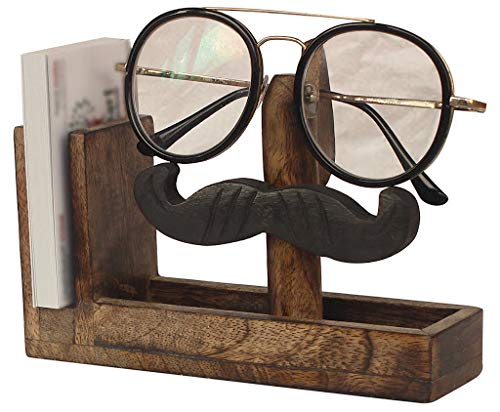 Kamla Sellers Class Quirky Handmade Mustache Spectacle Holder & Business Card Holder - Wooden Eyeglass Stand Handmade Display Optical Glasses Accessories