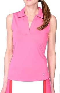 GOLFTINI New! Sleeveless Cotton Mesh Collar Polo - Hot Pink