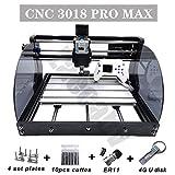 Actualización CNC 3018 Pro MAX GRBL - 30x18CM Grabadora de PCB fuera de línea de 3 ejes Máquina de grabado de fresadora de PVC con placa protegida - Cortador de grabado de enrutador de madera DIY