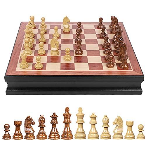 Juego de ajedrez de almacenamiento interno de ajedrez del ajedrez del ajedrez del ajedrez de madera de lujo, ideal decoración del hogar juego de ajedrez clásico regalo de ajedrez principiante