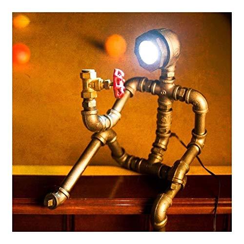 Mesa americana de agua de la moda retro de la lámpara antigua robot creativa lámpara lámparas mesita de noche que viven sala de estudio iluminación decorativa bar restaurante hermoso retro