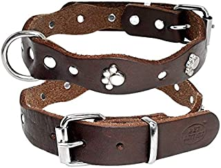 PET ARTIST Luxury Genuine Leather Dog Collar-Handmade for Small/Medium Dog Breeds with The Finest Real Leather-Full Grain ...