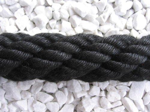 Gpotex Cuerda para pasamanos/Cuerda de Bloqueo Negra de 100% poliacrílico (pasamanos/Cuerda de Bloqueo)