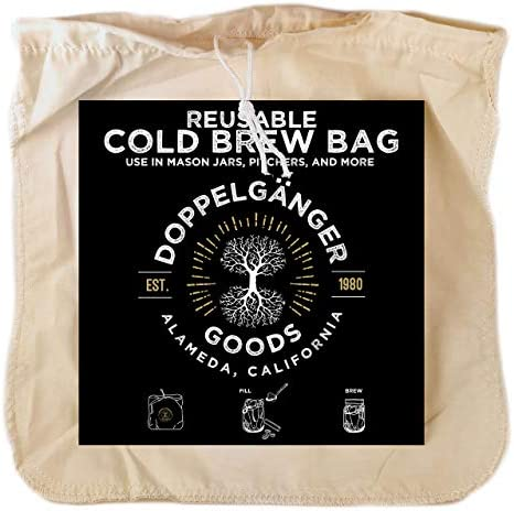 1 Pack Large 12in x 12in Organic Cotton Cold Brew Coffee Bag Designed in California Reusable product image