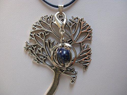 Natural mente – Pendentif Arbre de Vie, la pierre + 1 Chakra, pendentif pour collier, amulette, arbre de vie, bande plastique incluse, pierres précieuses, n ° 167