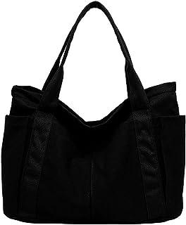 pielu トートバッグ キャンバス ポケット付き シンプル Lサイズ