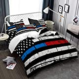 American Flag Duvet Cover King Size Independence Day Bedding Set Colorful Red Blue Black Stripe Quilt Cover 3D Printed Zipper Closure Bedding Cover 3 Piece Bed Set (NO Comforter)