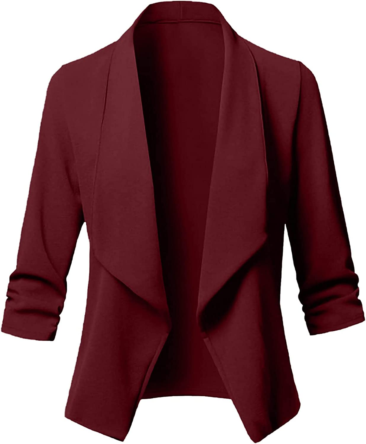 Women's Casual Blazer Cardigan Open Front Long Sleeve Solid Color Jacket Plus Size All-Match Cropped Suit Coat