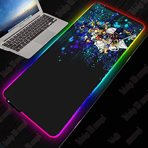 RGB Gaming Mouse Pad Anime Kingdom Hearts LED Backlit XXL Mouse Mat with Smooth Surface Thick Rubber Base for Game-700×300 MM