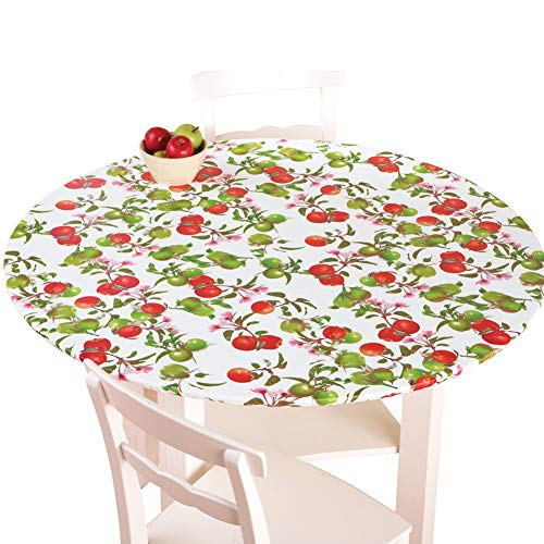 Collections Etc. Patterned Fitted Table Cover with Soft Flannel Backing and Durable Wipe-Clean Vinyl Construction, Apples, Oval
