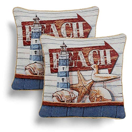 IT IDEAL TEXTILES Set of 2 Beach Tapestry Cushion Covers, Pair of Seside Design Velvet Back Cushion Covers, Rope Piped Trim Cushion Cases, Sofa Chair Throw Pillow Cases, 18' x 18', 45cm x 45cm