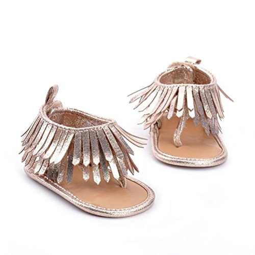 Sandals,Kimanli Baby Infant Kids Soft Sole Crib Toddler Newborn Tassels Shoes (6·12 months, Gold)