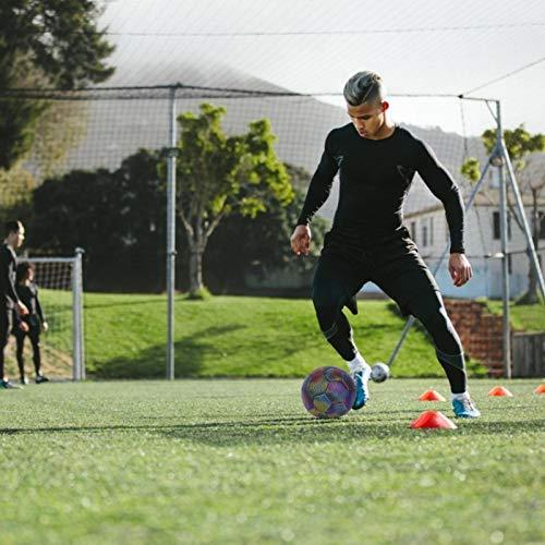 Leuchtfussball Night Kick, Leuchtball Kinder, Größe 4/5 Reflektierender Fußball Trainingsfußball Für Kind/Erwachsener