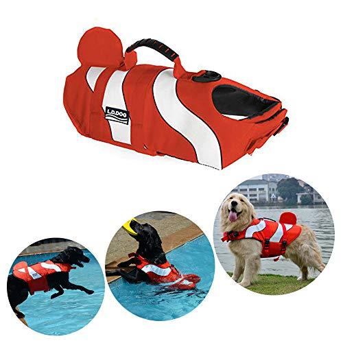 HomeYoo Schwimmhilfe für Hunde, Hundeschwimmweste, Poppypet Doggy Aqua-Top Schwimmweste Haustier Hunde-Schwimmweste mit überlegenem Auftrieb und Rettungsgriff (S, Orange)