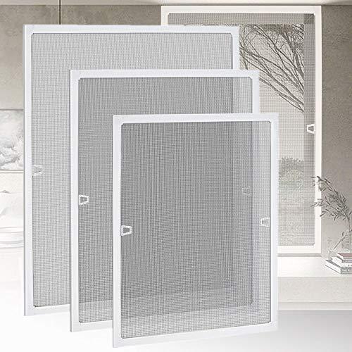 HENGMEI Fliegengitter Fenster Insektenschutz Insektenschutzrahmen Spannrahmen mückengitter gitter mit Aluminium Rahmen ohne Bohren für Fenster (100x120cm, Fenster-Weiß)