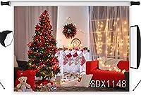新しい7x5ft C istmasツリーライト写真撮影の背景ソックス暖炉屋内休日の装飾写真背景スタジオプロップカスタマイズ1148