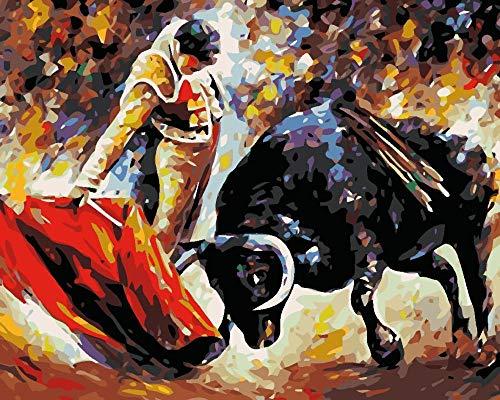 Pintar por Numeros para Adultos Niños Corrida de toros DIY Lienzo Pintura al óleo Kit Hogar Decoración Regalo, 40x50cm Sin Marco
