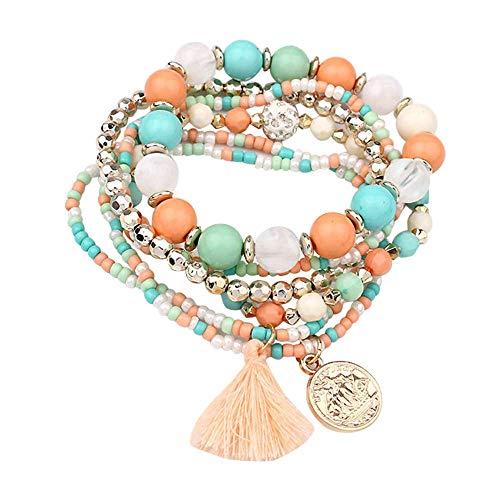 WooCo Damen Frauen Armband Multilayer mit Perlen Armreif Sale Damen Armreif Quasten Armbänder 6 Farbe zur Auswahl(Green)