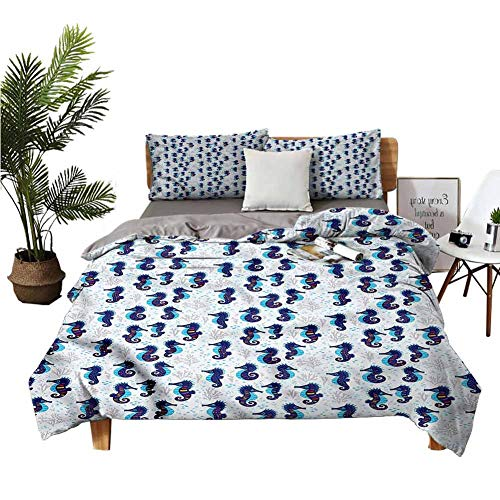 dsdsgog 3-Piece Bedding Set Winter Sheets Queen Bed Sheet Seaweed Corals Oceanic Blue Bed Sheet W68 xL85 Zippered Quilt Cover and 2 Envelope Pillowcases