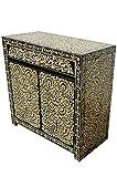 Cómoda oriental Abubakr, 90 cm, blanco y negro, estilo oriental, vintage, pintada a mano, estilo oriental, rústico, de madera, muebles asiáticos de la India