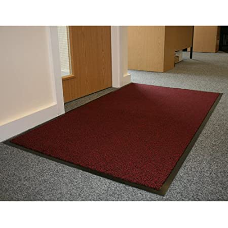 Jvl Office Entrance Absorbent Barrier Door Mat Red Black 90 X 150 Cm Amazon Co Uk Kitchen Home