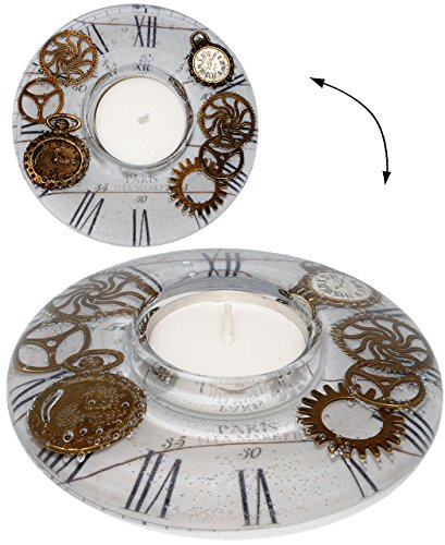 alles-meine.de GmbH 3-D Effekt - Teelichthalter -  Timeless / zeitlos  - aus Glas - mundgeblasen - Handarbeit aus Deutschland - runder Kerzenhalter / Teelichtgläser Vintage mit..