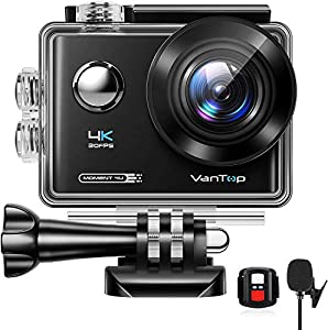 VanTop Moment 4U 4K Action Camera w/Gopro Compatible Carrying Case, Remote Control, 16MP Sony Sensor, 30M Waterproof Action Camera w/Gopro Compatible Accessories,2 Batteries, 170°Ultra Wide Angle