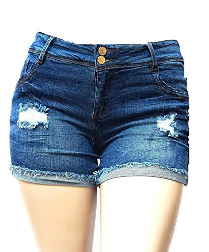 C'est TOI Womens Plus Size Stretch Distressed Ripped Blue Short Denim Jeans (1X)