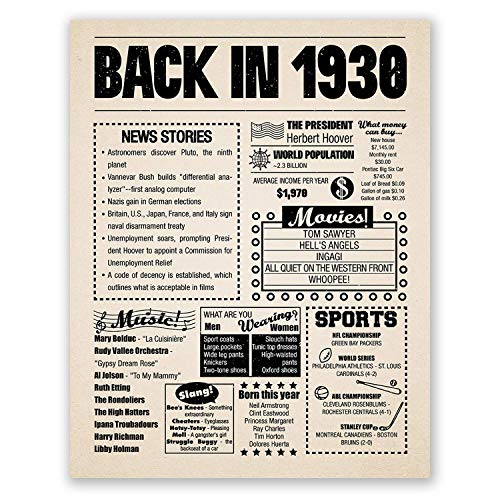 Image of the 8x10 1930 Birthday Gift // Back in 1930 Newspaper Poster // 90th Birthday Gift // 90th Party Decoration // 90th Birthday Sign // Born in 1930 Print