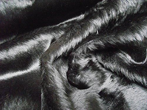 CRS Fur Fabrics Material de tela de piel sintética de color negro, acrílico, 1Mtr-150cm x 100cm