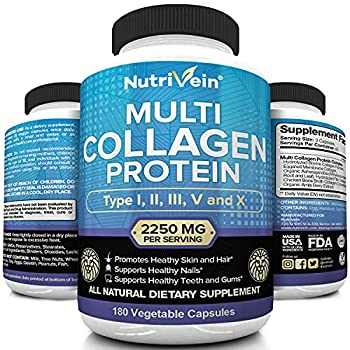 Nutrivein Multi Collagen Pills 2250mg - 180 Collagen Capsules - Type I II III V X - Anti-Aging Healthy Joints Hair Skin Bones Nails Hydrolyzed Protein Collagen Peptides for Woman and Men