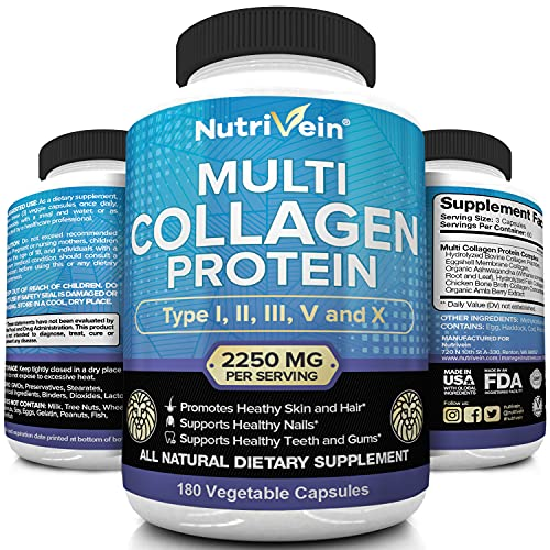 Nutrivein Multi Collagen Pills 2250mg - 180 Collagen Capsules - Type...