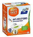 Zen'Sect Diffuseur Electrique Anti–Moustiques & Moustiques Tigres – 0% Insecticide – 60 Nuits