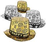 com-four® 4X Silvester Partyhut - Zylinder Happy New Year für