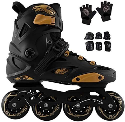LDGF Patines en línea Patines ajustables para mujeres y hombres, patines de velocidad de fibra de carbono Patines EU 35-44 Protección completa (color: negro B, tamaño: EU 42US 9UK 8JP 26cm)