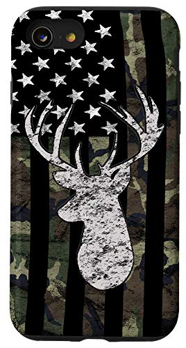 iPhone SE (2020) / 7 / 8 Whitetail Buck Deer Hunting American Camouflage USA Flag Case