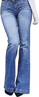 Mujer Cintura Alta Pantalones Acampanados Vaqueros Jeans Pantalones De Campana