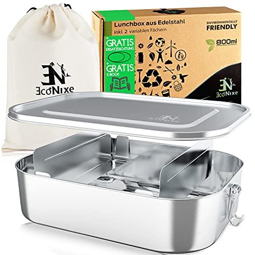 Econixe® Brotdose Edelstahl mit 2 variablen Trennwänden + Beutel, Auslaufsichere Lunchbox, BPA- & plastikfreie Lunch Brotzeitbox + Unterteilung, Nachhaltige (800ml) Brotbox auch für Kinder + eBook