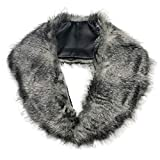 SwirlColor Pelzkragen Faux-Pelz Shrug Fluffy Warme Winter-Schal für Damen (Grau)