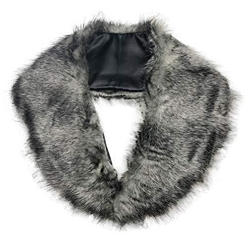 SwirlColor Fluffy Faux-Pelz Shrug warme Winter-Collar-Verpackungs-Schal-Ansatz-Schal für Frauen - Grau