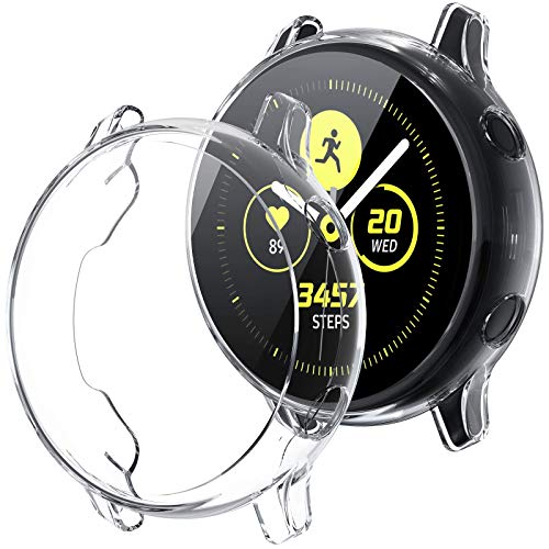 [2Pack] Tensea Compatible with Galaxy Watch Active Case 40mm, Soft TPU Bumper Full Around Screen Protector Cover for Samsung Galaxy Watch Active 40mm, 2 Packs (Clear)