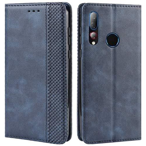 HualuBro Handyhülle für HTC Desire 19 Plus Hülle, Retro Leder Brieftasche Tasche Schutzhülle Handytasche LederHülle Flip Hülle Cover für HTC Desire 19+ Plus 2019 - Blau