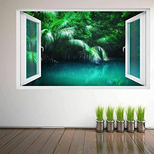 Adhesivo de Pared con efecto 3D Breakthrough Autoadhesivo Fantasy Forest Tropical Lake 20x27inch(50x70cm) Etiqueta Engomada de la Pared del Cuarto de baño Etiqueta Engomada de DIY del Refrigerador