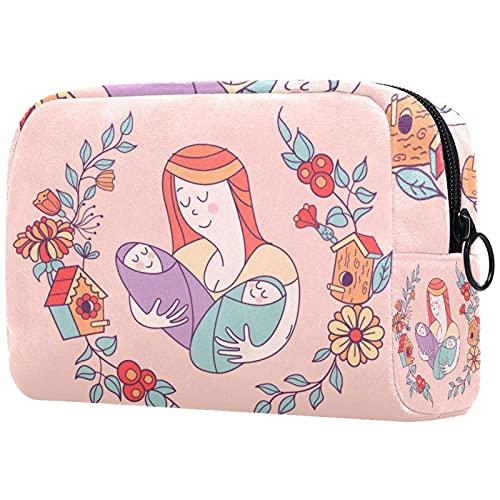 Große Kosmetiktasche Reißverschlusstasche Reisekosmetik-Organizer für Frauen und Mädchen - Mutter und Zwillinge