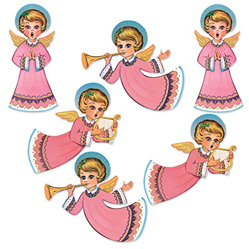 """Beistle 20058 Vintage Christmas Glittered Angel Cutouts 6 Piece, 14.5"""" - 16.25"""", Multicolor"""