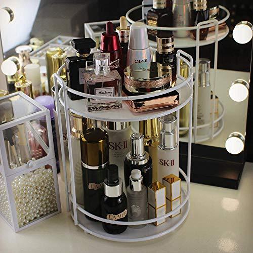 LIUJUAN Organizador De Maquillaje Metal Giratorio Estante De Almacenamiento Cosmético De Escritorio Perfume Lápiz Labial Acabado Dormitorio Baño Estante-Blanco No Giratorio